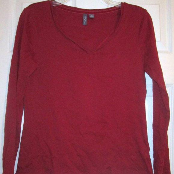 Madison Red Long Sleeve V-Neck Basics Top Sz L Jrs